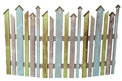 ETC dekorativer Farbiger Dekozaun Holz-Zaun Jäger-Zaun 3 Elemente zum klappen - ca. 120 cm lang x 75 cm hoch