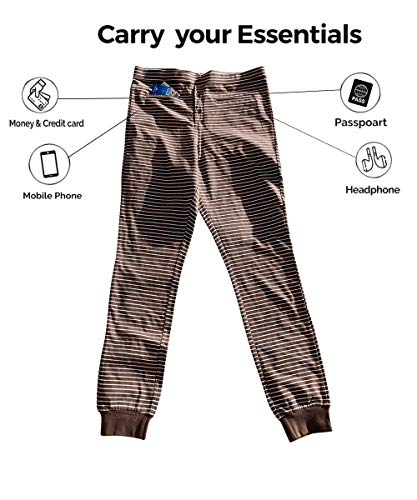 Clever Travel Companion Unisex Traveling Long Johns with Two Secret Zipper Pockets, 100% Pickpocket Proof Holiday Tour (Brown-White, Medium)