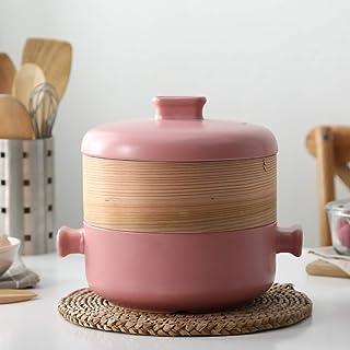 XH&XH Wooden Steamer Ceramic Saucepan Creativity Soup hot Pot do not Stick Clay Pot Clay Pot Korean Ceramic Stone Pot Pink...