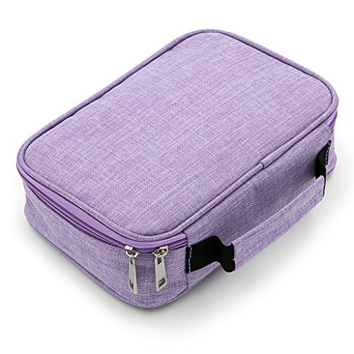BTSKY High Capacity Zipper Pens Pencil Case- Multi-Functional Stationery Pencil Pouch 72 Slots Colored Pencil Case Portable Pencil Bags with 2 Removable Sleeves(Purple)