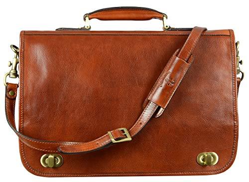Leather Briefcase for Men Italian Handcrafted Full Grain Messenger Bag for Laptop Orange - Time Resistance