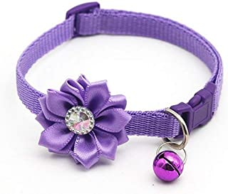 xmelug Adjustable Cat Dog Pet Collar Footprint Neck Strap Puppy Supplies with Bell Comfy And Soft Adjustable Collar For Small//Medium//Large Dogs Purple