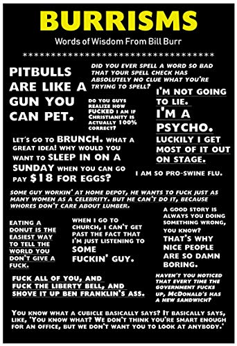 Lavojo Bill Burr Burrisms Poster/Funny Comedy Standup Humor Gift / 13x19
