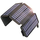 SOARAISE Solar Charger 25000mAh Power Bank with 4 Solar Panels Waterproof Portable Phone Charger Battery Pack with 2 USB Outputs for iPhone, iPad, Samsung and Outdoor Camping