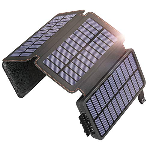 SOARAISE Solar Charger 25000mAh Power Bank with 4 Solar Panels Waterproof Portable Phone Charger Battery Pack with 2 USB Outputs & Flashlight for iPhone, iPad, Samsung and Outdoor Camping