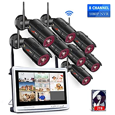 All-in-One 8 Channel Wireless Home Security Camera System with 12 Inch Monitor NVR Kits,1080P WiFi IP Surveillance Video System(2TB HDD)with 8Pcs 2.0MP Cameras,75ft Night Vision,Motion Detection ANRAN