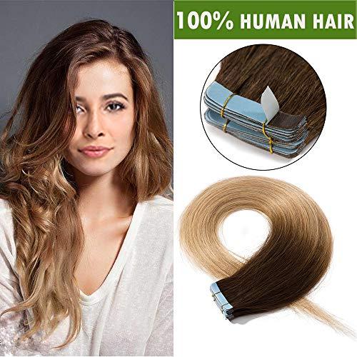 SEGO Extension Adesive Capelli Veri 20 Ciocche con Biadesivo Tape Extensions Biadesive 100% Remy Human Hair Naturali 50g/Pack (45cm, Castano Cioccolato shatush Biondo Scuro)