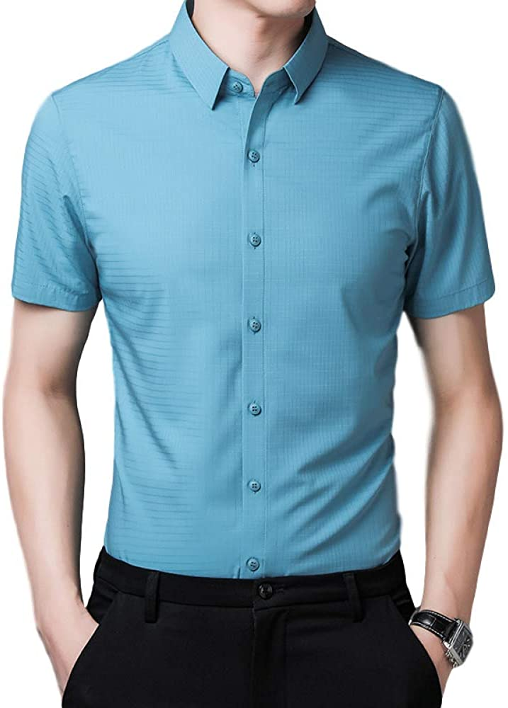 Men's Shirt Slim Personality Fashion Short-Sleeved Business Casual Solid