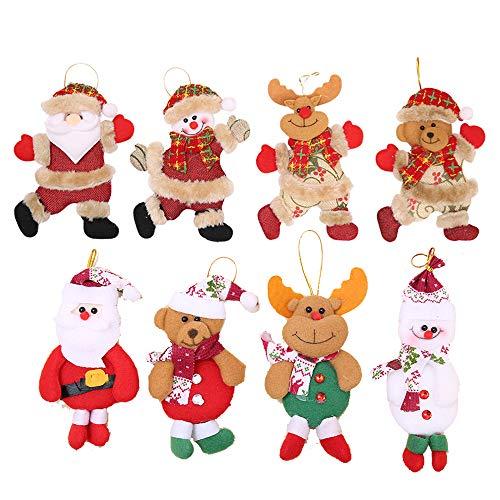 Flysee 8Piezas Adornos árbol Navidad Colgantes Muñecos Papá Noel Ornamentos de Navidad Decoración Fiesta Regalo Adornos Navideños Manualidades