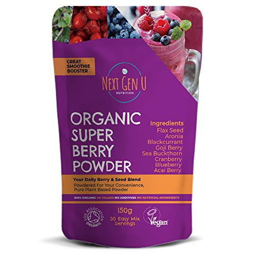 Next Gen U | Organic Super Beeren Pulver 150g | Vegan Detox Superfood Roter Smoothie | Frische Energie | Antioxidationsmittel | Acai Cranberry Blaubee