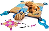 "HOUNDGAMES Puppy Toy Mat with Teething Chew Toys (20"" x 20"") - Ropes, Squeaker Nose, Plush Padded Sleeping Mat – Durable and Machine Washable - Comfort and Fun, All-in-One"