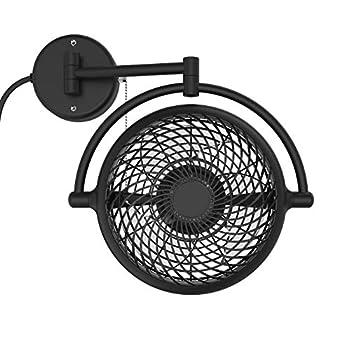 VIVI- 8 in Wall Mount Swivel Fan with Folding Arm  Black