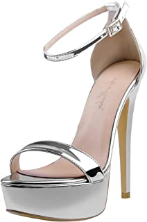 Women's Sexy Ankle Strap Open Toe Platform Stiletto Sandals Single Band High Heel Party Dress Shoes