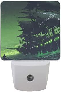 Set of 2 Ghost Pirate Ship in Sea Mystical Green Light Big Ocean Wave Flying Dutchman Boat Digital Art Style Painting Auto Sensor LED Dusk to Dawn Night Light Plug in Indoor for Adults