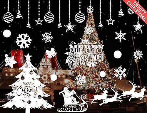 heekpekWeißer Weihnachtsbaum Weihnachtsmann Elk Kleiner Aufkleber Weihnachten Windows und Windows Sticker dekoratives Bild abnehmbar und wiederverwendbar