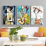 Graffiti art prints Elegant Lady Saxophone Gentlemen Picasso Style Art Print Figura Decoración nórdica para cuadros de sala de estar 3 piezas 40x60cm sin marco