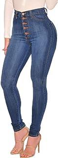 Tomwell Cintura Alta Pantalones Jeans Mujer Elástico Flacos Vaqueros Leggings Casual Skinny Push Up Mezclilla Pantalones