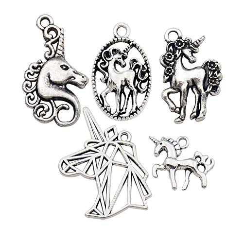 YoudiylaUK 50 pcs Craft Supplies Mixed Silver Unicorn Charms for Crafting Jewellery Findings Making Accessory for DIY Necklace Bracelet WM314