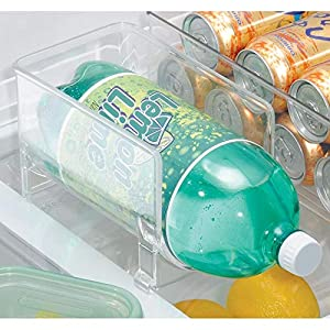 mDesign Large Stackable Kitchen Bin Storage Organizer Rack for Pop/Soda Bottles for Refrigerator, Pantry, Countertops and Cabinets - Holds 2-Liter Bottles - 2 Pack - Clear