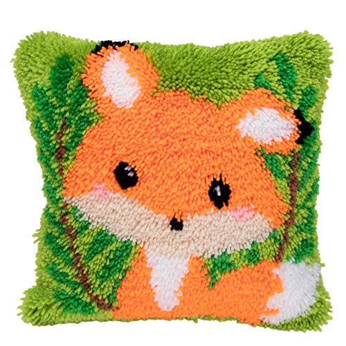 Beyond Your Thoughts Model Latch Hook Kits Cute Fox Kids Area Rug Cute Mat DIY Needle Craft for Beginner Adults & Kids