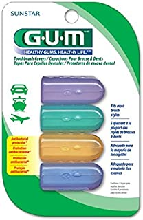 GUM Antibacterial Toothbrush Covers For Travel or Home, 4 Covers