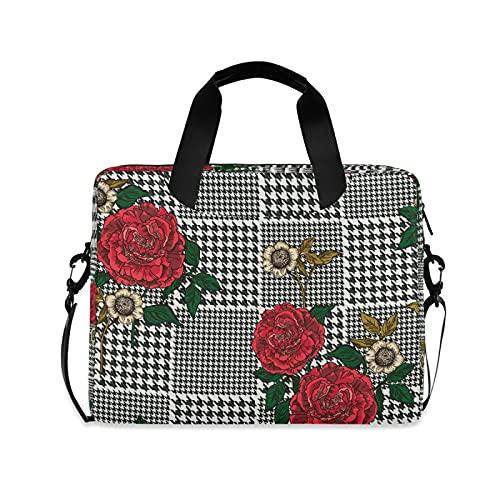 CCDMJ Laptop Case Rose Flower Floral Plaid Laptops Sleeve Shoulder Messenger Bag Briefcase Notebook Computer Tablet Bags with Strap Handle for Women Man Boys Girls 16 Inch