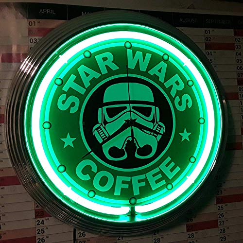 Neon reloj Star Wars Coffee Neon Verde de taller Reloj de pared de neón Reklame