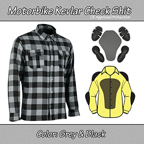 Motorrad Motorrad Holzfäller Kevlar Shirt vollständig geschützt mit abnehmbaren CE gepanzerte Premium Qualität Flanell Grau & Schwarz (S)