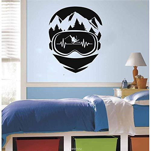 JHGJHGF Adesivi murali Sci Neve Montagna Sport Invernali all'Aria Aperta Camera da Letto Decorazione d'interni Porte e finestre Adesivi in Vinile Carta da Parati Creativa