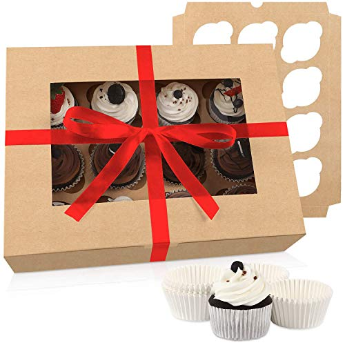 Moretoes Cupcake Boxes 15 Packs, Brown Kraft Cupcake Carrier Bakery Boxes with Windows and Inserts to Fit 12 Cupcakes Muffins or Pastries, 200 Cupcake Baking Cups and Ribbon
