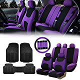 FH Group FB030115 Light & Breezy Cloth Seat Covers, Airbag & Split Ready Purple/Black Combo Set: Steering Wheel Cover, Seat Belt Pads and F11306 Vinyl Floor Mats-Fit Most Car, Truck, SUV, or Van