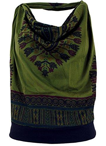 GURU SHOP Goa Top, Dashiki Psytrance Neckholder Top, Damen, Olive, Baumwolle, Size:S/M (34/36), Tops & T-Shirts Alternative Bekleidung