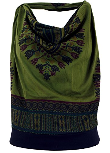 Guru-Shop Goa Top, Dashiki Psytrance Neckholder Top, Damen, Olive, Baumwolle, Size:S/M (34/36), Tops & T-Shirts Alternative Bekleidung