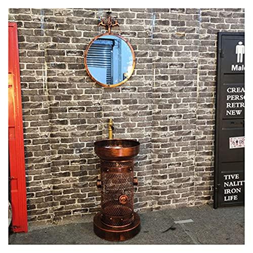 MBY Hierro Forjado Lavabo De Pie De Una Pieza, Lavamanos De Baño Estilo Industrial Retro, Lavabo De Columna Antiguo Creativo para Cafetería, Club De Alta Gama, Bar(Size:con Espejo,Color:Cobre Rojo)