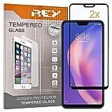 REY 2X Protector de Pantalla 3D para XIAOMI MI 8 Lite - Mi8 Lite, Negro, Protección Completa, 3D / 4D / 5D