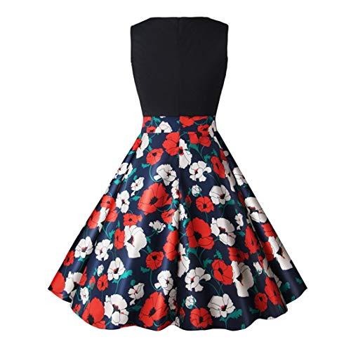 Bademode Rundhals ärmellos 50er Jahre 60er Jahre Vintage Retro Rockabilly Floral Swing Kleid Damen Bikinis (Farbe : Schwarz, Size : XXL)