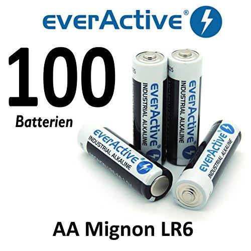 100 x everActive Mignon AA LR6 MN1500 MX1500 Alkalinebatterie Batterien 2900 mAh