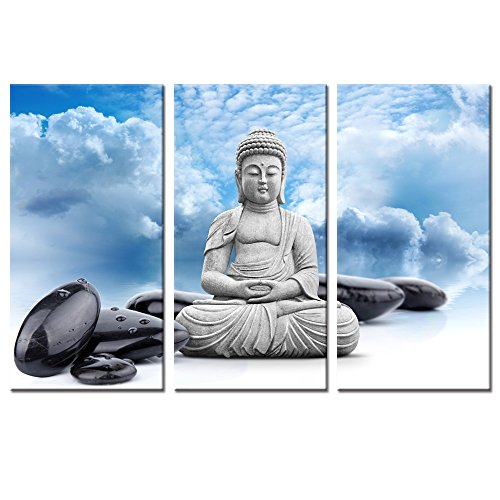 Visual Art Decor 3 Pieces Zen Stone Buddha Statue Picture Canvas Wall Art Prints Framed and Stretched Artwork For Modern Living Room Bedroom Yoga Meditation Room Decoration