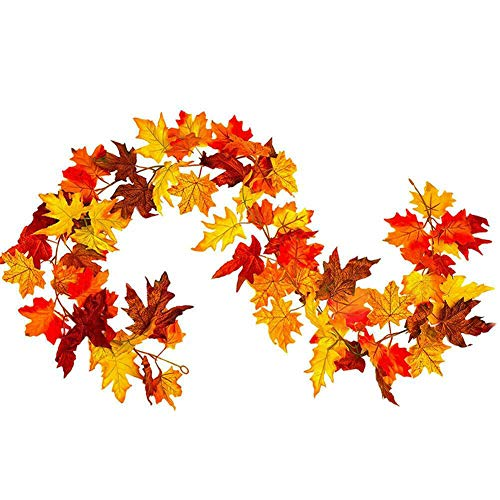 Hankyky Thanksgiving Maple Leaf Garland Autumn Fall Maple Leaves Hanging Plant for Home Garden Wall Doorway Backdrop Fireplace Decoration Thanksgiving Wedding Party Decor