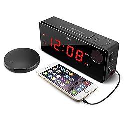 iLuv Time Shaker Boom Wireless Vibrating Bed Shaker Alarm Clock for Heavy Deep Sleepers, LED Display, Loud Panic Alert, Flashing Red Alert Light, Multiple Vibration Levels, Dual Alarm, USB Charging
