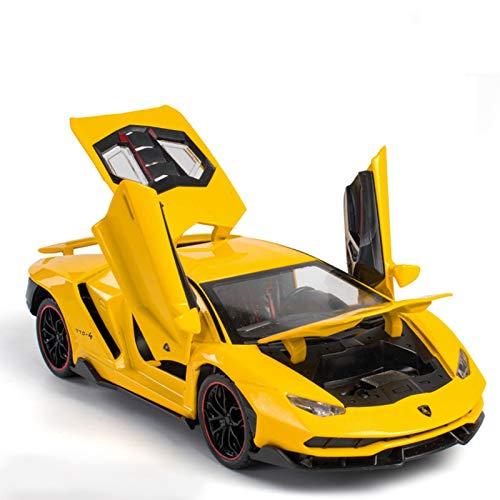 DXZJ 1:24 para LP770-4 Coche De Aleación Modelo De Coche Deportivo Diecast Sound Super Racing Lifting Tail Rueda De Coche Caliente para Regalos De Niños (Color : Yellow)