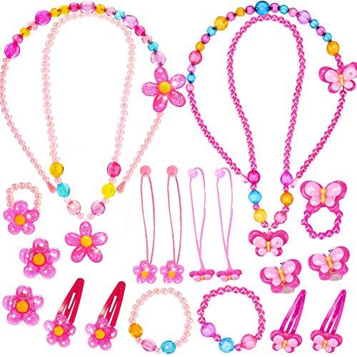 Kinderschmuck - WENTS 20PCS leine Mädchen Halskette Armband Ring Clip-on Ohrringe Haar Klammern Einstellen Set Modeschmuck Party Favors Geschenk zum Anziehen Pretend Play