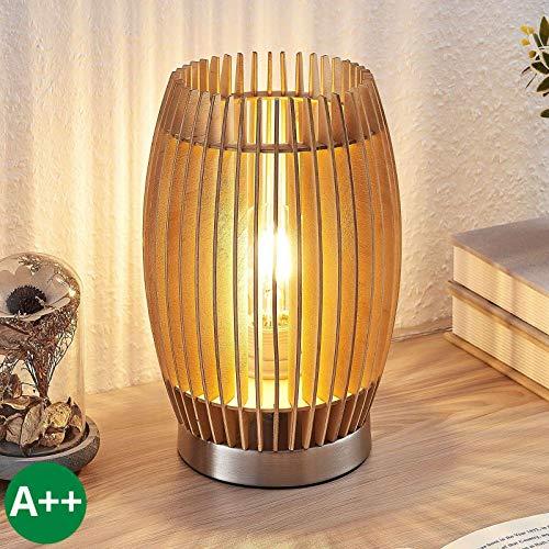 Lampenwelt Tischlampe 'Jemile' (Skandinavisch) aus Holz u.a. für Wohnzimmer & Esszimmer (1 flammig, E27, A++) - Tischleuchte, Schreibtischlampe, Nachttischlampe, Wohnzimmerlampe