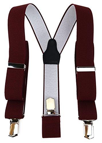 TigerTie - Bretelle unisex a Y con 3 clip extra forti, tinta unita, lavorazione di alta qualità, larghezza 35 mm Bordeaux rosso vino. Taglia unica
