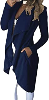 Macondoo Women's Slim Wool-Blend Open Front Lapel Outwear Pea Coat