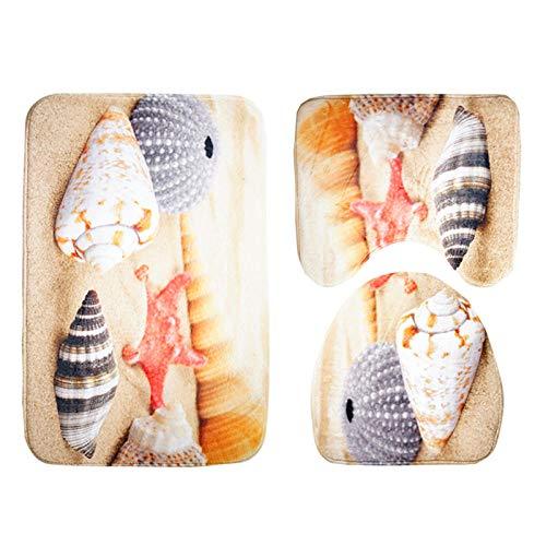 FGHJSF Alfombras de Baño Caracola de Playa Juego de Alfombrillas de baño de 3 Piezas de Microfibra Alfombra de Pedestal + Tapa de Inodoro + Alfombrilla de baño