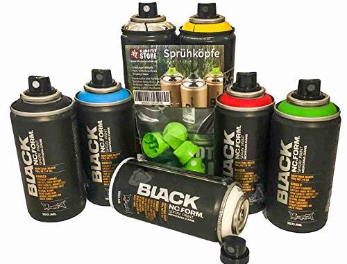 Sprayfarben Pocket Cans Grundfarben Set kleine Bunte Sprühdosen 7x150ml stylische Graffiti Box mit sattem Chrom und Ersatz Caps auch für Dekoration Hobby Modellbau Handwerk zum ausbessern bei KFZ