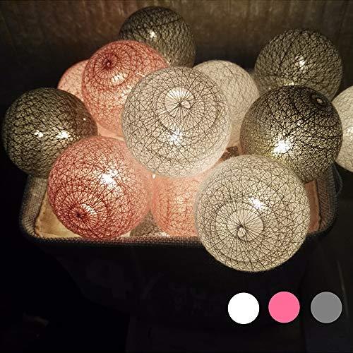 Morbuy LED Lichterkette mit Kugeln, Baumwollkugeln Mit 10/20/30 Bällen Batteriebetrieben Licht Festlich Hochzeiten Geburtstag Cotton Ball Weihnachten Dekorative (3.3m / 20 Lichter, Grau)
