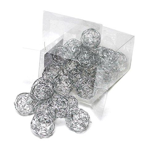 Lot de 24 boules métalliques de 3 cm Argenté