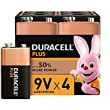 Duracell Plus, Lot de 4 piles Alcalines Type 9V, 6LR61